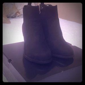 Black wide width ankle booties